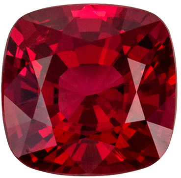 Lovely Rare Red Spinel Loose Gem, 6.2 x 6 mm, Open Pure Red, Cushion Cut, 1.16 carats