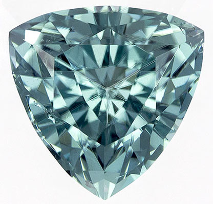 Lovely Rare Trillion Cut Blue Tourmaline Loose Gem, Light Teal Blue, 6.4 mm, 1.02 carats