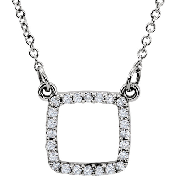 Lovely Round Square Open Shape 1/8ct Pave Diamond Pendant in 14k Gold for SALE - 24 1mm Diamond Accents - FREE Chain