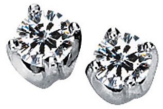 Lovely Solstice Style Solitaire Stud Earrings With Round Created Moissanite Gemstones - Metal Type and Gem Size Options