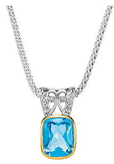 Lovely Two-Tone Sterling Silver and 14k Yellow Gold Topaz Pendant for SALE - 3.9ct 10.00 x 8.00 mm Antique Cushion Cut Swiss Blue Topaz - FREE Chain With Pendant - SOLD