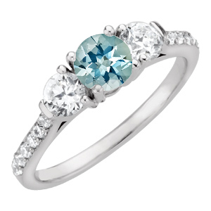 Lovely Vivid Blue 1 carat 6mm Genuine Aquamarine Engagement Ring - Diamond Side Gems and Diamond Accents Along Band