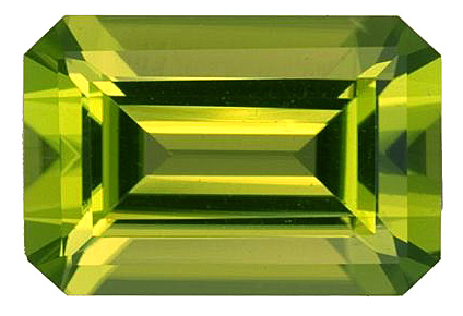 Lovely Vivid Chartreuse Loose Natural Peridot Gemstone, Emerald Cut, 8.38 carats