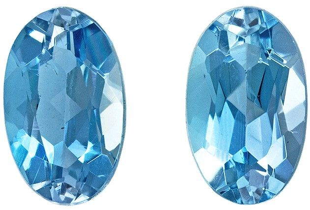 Low Price Aquamarine Gemstones, 0.47 carats, Oval Shape, 5 x 3 mm, Super Fine Gem Pair, Great Deal