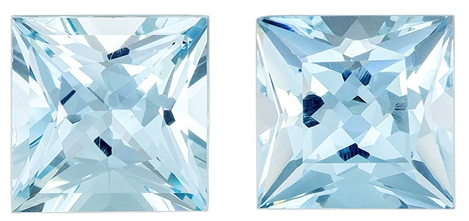 A Beauty of A Gem  Blue Aqua Genuine Gemstone, 3.22 carats, Princess Shape, 7 mm Matching Pair