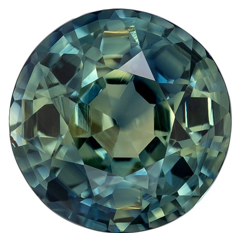 Rare Find in  Blue Green Sapphire Genuine Gemstone, 2.58 carats, Round Shape, 7.9 mm