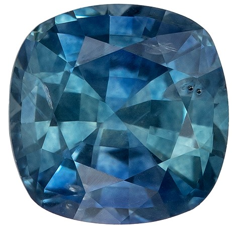 Low Price  Blue Green Sapphire Genuine Gemstone, 1.26 carats, Cushion Shape, 5.9 mm