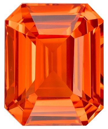 Low Price on Orange Sapphire Emerald Shaped Gemstone with GIA Cert, 1.09 carats, 6.2 x 5.06 x 3.37 mm - A Beauty of A Gem