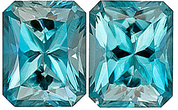Low Price on Rich Blue Zircons - Bright & Lively Pair, 9 x 7 mm, Radiant Cut, 7.43 carats
