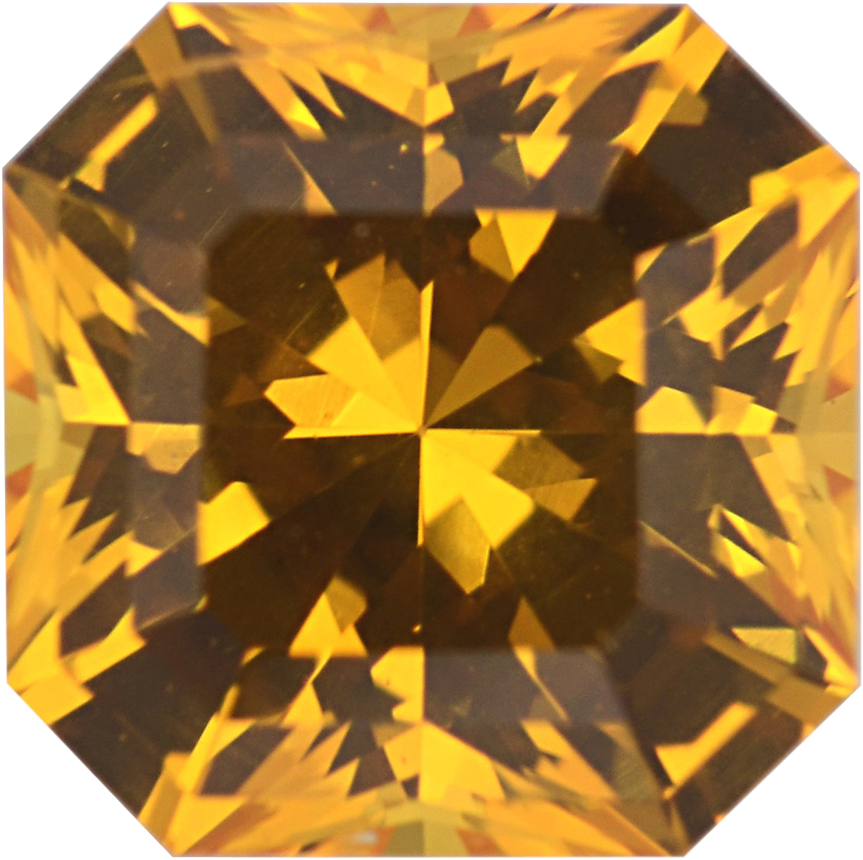 Low Price On Sapphire Loose Gem in Asscher Cut, Medium Orangy Yellow, 5.94 x 5.93  mm, 1.28 Carats