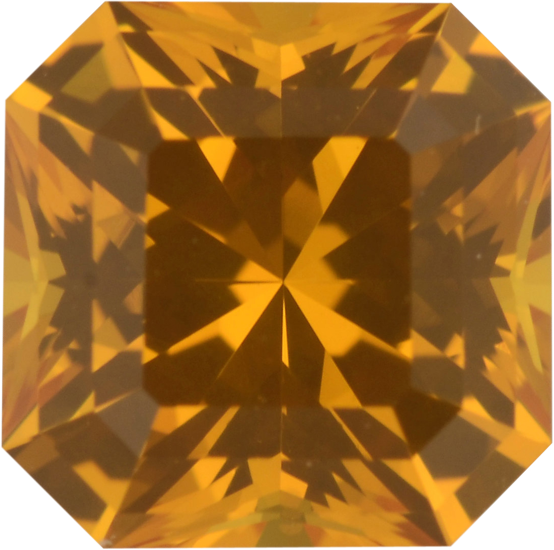 Low Price On Sapphire Loose Gem in Asscher Cut, Vivid Orangy Yellow, 6.40 x 6.39  mm, 1.56 Carats