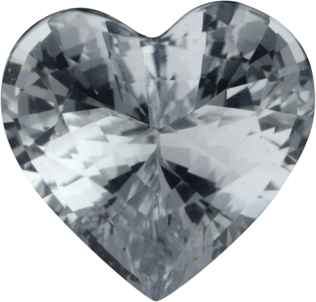 Low Price On Sapphire Loose Gem in Heart Cut, Near Colorless, 6.25 x 6.52  mm, 1.11 Carats