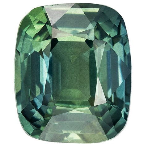 Low Price on Top Gem  Blue Green Sapphire Genuine Gemstone, 2.06 carats, Cushion Shape, 7.7 x 6.5 mm