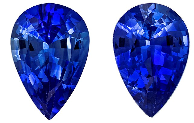Super Fine Gem!  Blue Sapphire Genuine Gemstone, 0.82 carats, Pear Shape, 6 x 4 mm Matching Pair