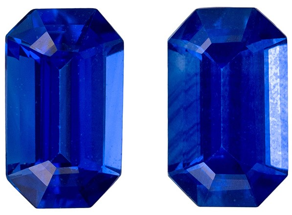 Low Price on Top Gem  Blue Sapphire Genuine Gemstone, 0.62 carats, Emerald Shape, 5 x 3 mm Matching Pair