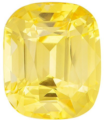 Low Price on Top Gem Cushion Cut Genuine Yellow Sapphire Loose Gemstone, 3.45 carats, 8.7 x 7.3 mm , A Must Have Gem