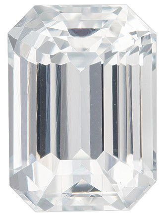 Low Price on Top Gem Octagon Cut Faceted White Sapphire Loose Gemstone, 3.54 carats, 9.5 x 6.8 mm , Fine Material