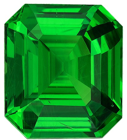 Low Price on Top Gem Octagon  Cut Natural Tsavorite Loose Gemstone, 3.03 carats, 9 x 7.8 mm , A Must Have Gem