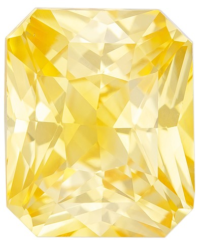 Low Price on Top Gem  Radiant Cut Beautiful Yellow Sapphire Loose Gemstone, 4 carats, 9.4 x 7.8 mm , Such Color