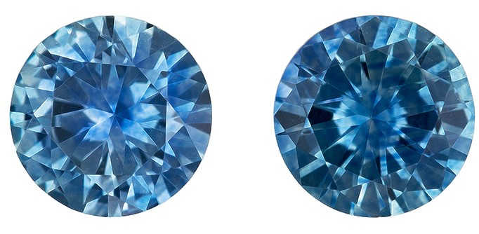 Low Price on Top Gem  Round Cut Faceted Blue Sapphire Gemstones, 0.99 carats, 4.9 mm Matching Pair, Full Brilliance
