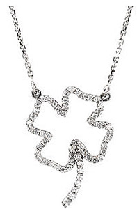 Lucky .33ct Diamond Four Leaf Clover Pendant in 14k White Gold