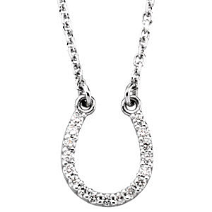 Lucky Diamond Horse Shoe .08ct Charm Pendant in 14k White Gold