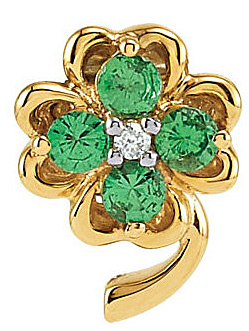 Lucky Four Leaf Clover Pendant in 14k Yellow Gold With .36ct 2.75mm Tsavorite Gems and Diamond Accent - FREE Chain With Pendant