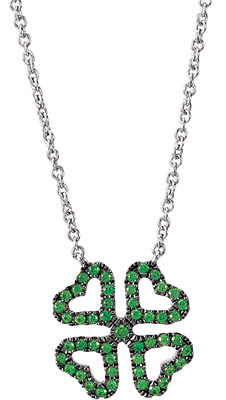 Lucky Four Leaf Clover Pendant With .75ct .8-1.14ct Green Tsavorite Garnets in 14 karat White Gold - FREE Chain - SOLD