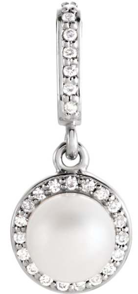 Lustrous 6mm Pearl Halo Pendant With Diamond Accents in 14k Gold - Metal Type Options - FREE Chain