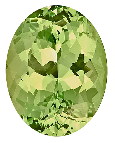Lustrous Green Unheated Natural Grossular Garnet Gemstone, Oval Cut, 10.8 x 8.5 mm, 4.02 carats