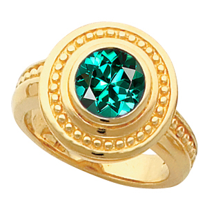 Luxurious Look! - 14k Gold Bezel Set Blue Green Tourmaline Fashion Ring With Ornate Beaded Look - SOLD