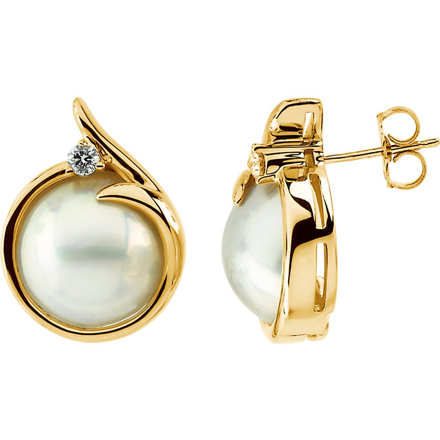 Eye Catchy Mabe Cultured Pearl & Diamond Earrings