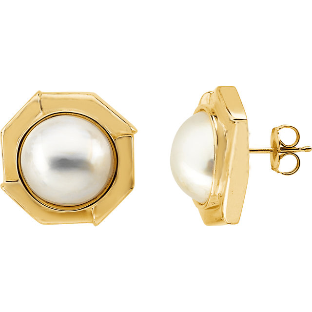 Gorgeous Mabe Cultured Pearl Earrings