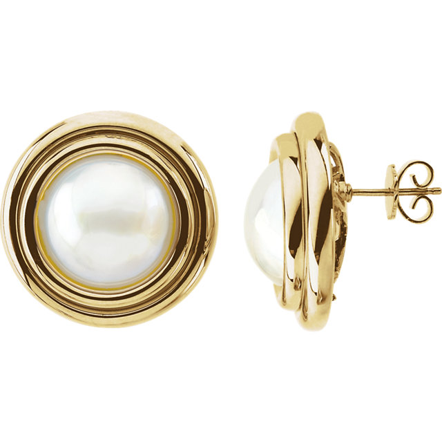Fine Mabe Cultured Pearl Earrings