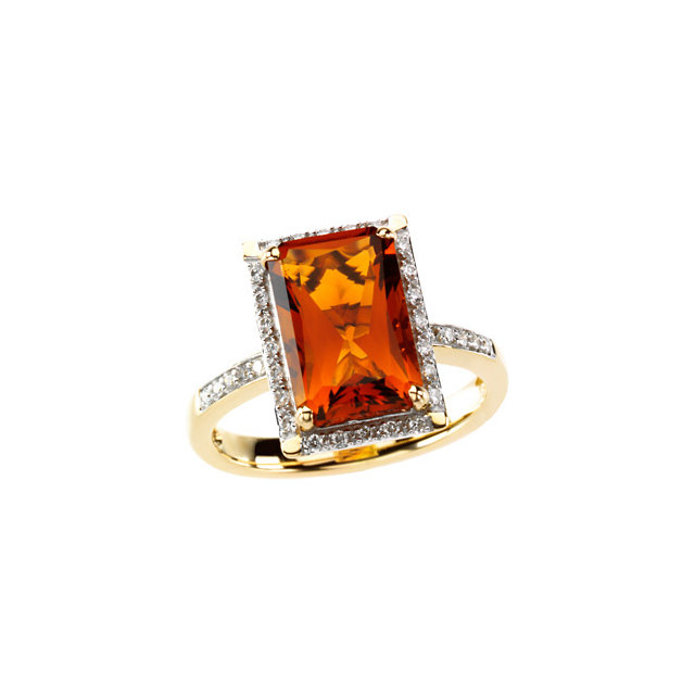 Great Gift in Madeira Citrine & Diamond Halo-Style Ring