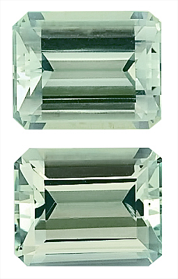 Magnifcent Blue/Green Color, Nice Pair of Gorgeous Green Beryl Genuine Gemstones, Octagon Cut, 10 x 8 mm, 6.18 carats
