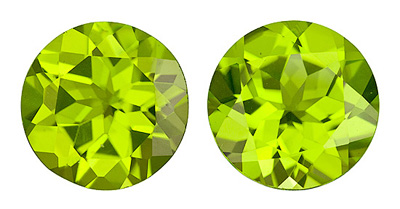 Magnificant Beauty, Matched Pair of 10mm Peridot Genuine Gems for SALE! Round Cut, 7.14 carats