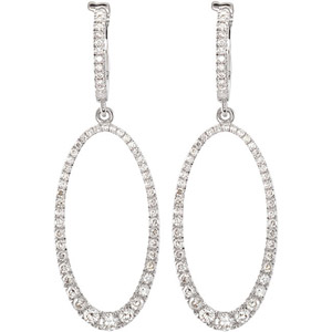Magnificent 1.25 ct Dangling Diamond Studded Earrings with Hoop Closure in 14 Karat White Gold