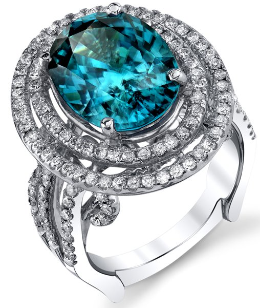 Magnificent 18kt White Gold 9.43ct Oval Blue Zircon Double Halo Ring - Pave Diamonds Along Triple Band