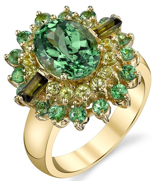 Magnificent 3.26ct Oval Tsavorite Garnet Ring With Bursting Gemstone Frame in 18kt Yellow Gold - Peridot, Tourmaline & Garnet Accents