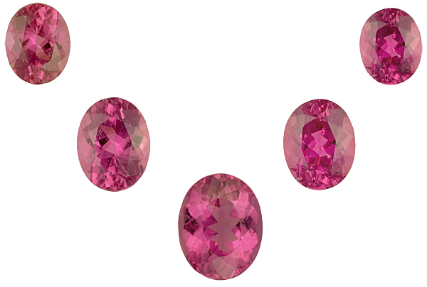 Magnificent 5 Piece Suite in Matched Oval Deep Pink Tourmalines, 13 x 11-10 x 8mm, 18.42 carats