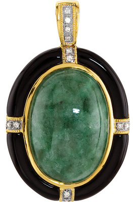 Magnificent Black Onyx Framed 20x14mm Oval Cabochon Jadeite Pendant in 14k Yellow Gold With Diamond Accents - Unique Look - FREE Chain With Pendant