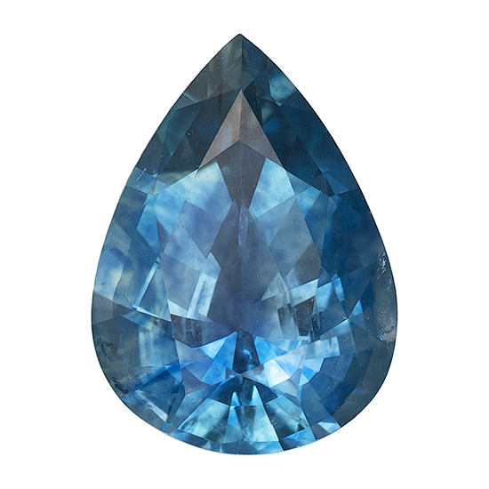 Magnificent Gem  Blue Green Sapphire Genuine Gemstone, 1.05 carats, Pear Shape, 7.4 x 5.4 mm