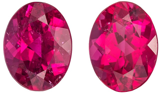 A Beauty of A Gem Red Tourmaline Genuine Gemstone, 2.57 carats, Oval Shape, 8 x 6.1 mm Matching Pair