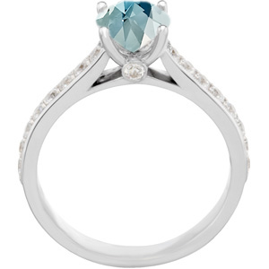 Magnificent Genuine 1 carat 6.5mm Fine Blue Aquamarine Round Solitaire Engagement Ring With Inset Diamond Accents in Band