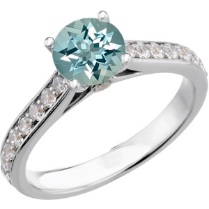 Magnificent Genuine 1 carat 6.5mm Low Price on Blue Aquamarine Round Solitaire Engagement Ring With Inset Diamond Accents in Band