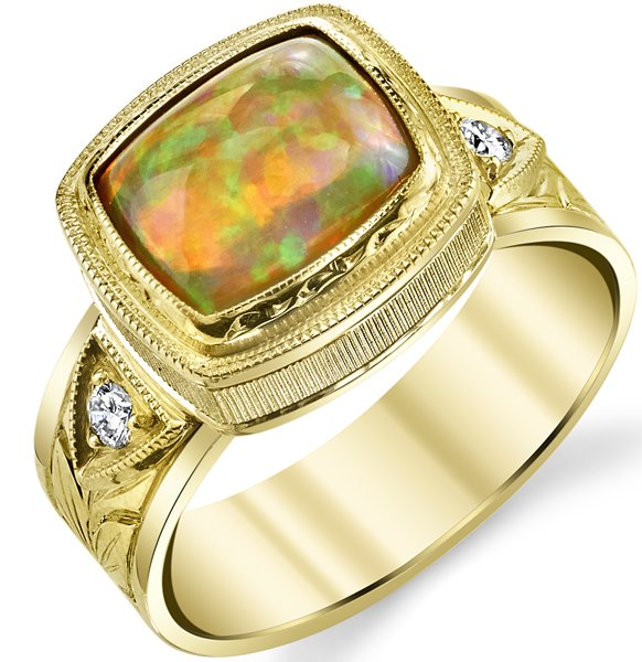 Magnificent Hand Made Bezel Set 1.75ct Cushion Ethiopian Opal 18 karat Yellow Gold Ring With Diamond Accents