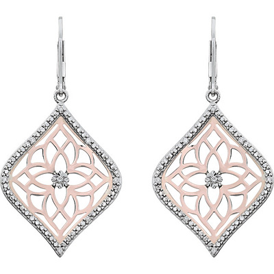Magnificent Leverback Dangle Earrings With Diamonds - Rose Plated Silver - Opulent Design - .1 cts,  1.00 - 1.20 mm - SOLD