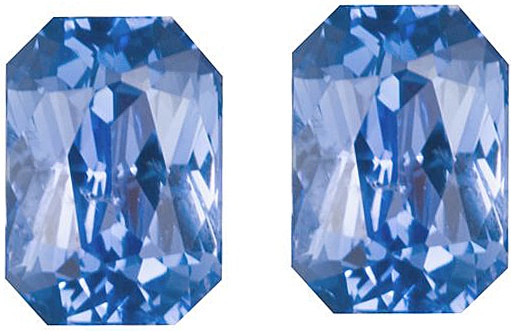 Magnificent Pair of Ceylon Unheated Blue Sapphires, TGL Cert, Radiant Cut, 2.56 carats