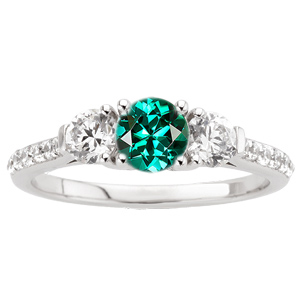 Magnificent Round  Blue Green Tourmaline Engagement Ring - Diamond Side Gems and Diamond Accents Along Band - SOLD